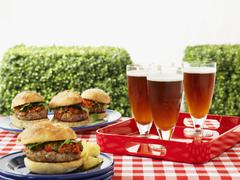 Hamburger and beer on a picnic table - stock photo