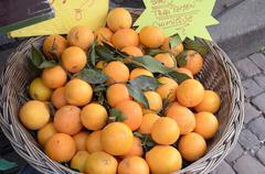 Fresh, organic oranges at the market Stock Photos