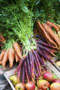 Fresh carrots and apples at the market - stock photo