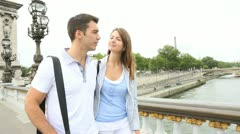 Couple in paris walking on the bridge alexander the third Stock Footage