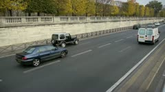 Cars riding in paris city center Stock Footage