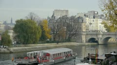 Riverboat riding on the seine river in paris Stock Footage