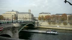 riverboat riding on the seine river in paris - stock footage
