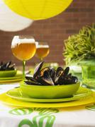 Steamed mussels Stock Photos
