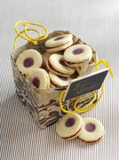 'Karlsbader' lemon rings (jelly filled cookie) for gift giving - stock photo