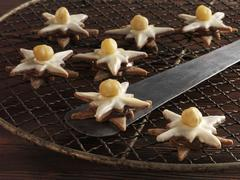 Nougat stars with hazel nuts on a cooling rack Stock Photos