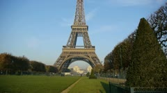 view of the eiffel tower from the champ de mars - stock footage