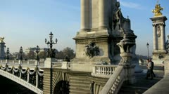 Bridge alexander the third and the invalides Stock Footage