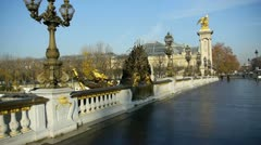 Alexander iii bridge, classified as an historical monument of paris, france Stock Footage