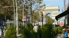 Paris - circa november 2011: coffee shop by the arch of triumph, paris circa Stock Footage
