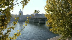 View of the seine river, the major river passing through paris capital- franc Stock Footage