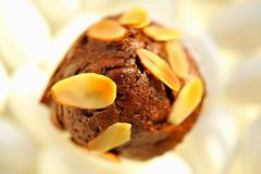 A brownie muffin with slivered almonds Stock Photos