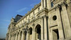 Paris - circa november 2011: the pyramid and louvre museum of paris, france c Stock Footage