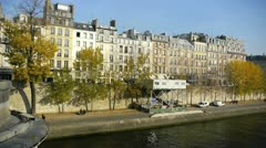 view of buildings of the ile saint louis - stock footage
