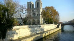 Notre dame of paris- cathedral, a gothic, roman catholic cathedral, france. Stock Footage