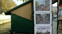 paris - circa autumn 2011: bouquinistes of paris capital- france; second-hand - stock footage