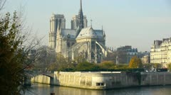 notre dame of paris- cathedral, a gothic, roman catholic cathedral on the eas - stock footage