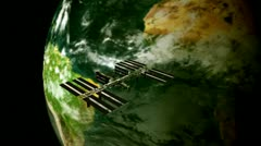 Flying over Space Station with Earth in background cutaway transition Stock Footage