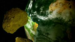 Meteor shower space rock floating in outer space cutaway transition Stock Footage