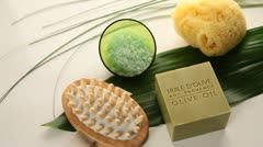 closeup on soap and beauty accessories - stock footage