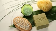 Stock Video Footage of closeup on soap and beauty accessories