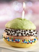 Double Decker Birthday Whoopie Pie with Three Different Flavored Cakes and Stock Photos