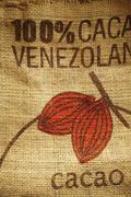 Burlap Cocoa Bag from Venezuela Stock Photos