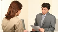 Woman having a job interview Stock Footage