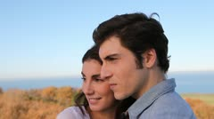 Closeup of couple standing outside Stock Footage