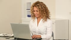 Office worker with laptop computer Stock Footage