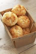 Coconut Macaroons in a Wooden Box - stock photo