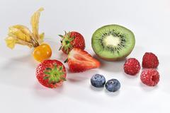Stock Photo of Physalis, kiwis and berries
