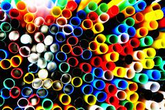 Lots of coloured straws Stock Photos