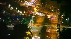 Six lane street with traffic during night aerial view Stock Footage
