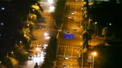 Six lane traffic street aerial view during the night Stock Footage