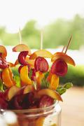 Stone Fruit Skewers Ready for the Grill - stock photo