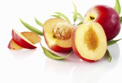 Nectarines, whole, halved and slices - stock photo