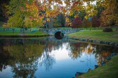 lake reflections - stock photo