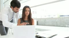 business people in office working on laptop computer - stock footage