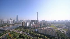 Morning panoramic of Guangzhou with river and bridge Stock Footage