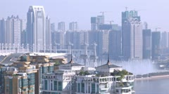 Morning panorama of Haixinsha island with river and fountains Stock Footage