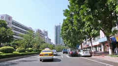Driving through Guangzhou street car view on daylight - stock footage