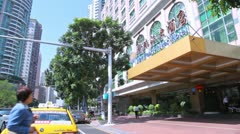 New Pearl River Hotel entrance view from the street Stock Footage