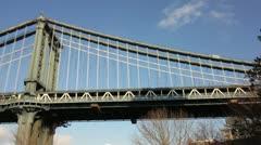 Pan Left of Manhattan Bridge and City Skyline Stock Video Stock Footage