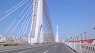 Stock Video Footage of Driving on Haiyin double tower single plane cable bridge