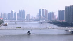 Haiyin double tower single plane cable bridge over Pearl River Stock Footage