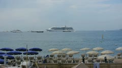 View of boats from la croisette in cannes Stock Footage
