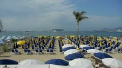 Beach in la croisette of cannes, france Stock Footage