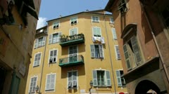 Facade of typical building in the old nice Stock Footage