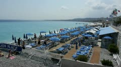 beach of nice, french riviera - stock footage